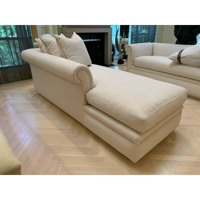 Wood Custom Fainting Couch With Left Arm Rest and Textured Fabric For Sale - Image 7 of 12