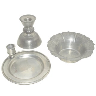 Pewter Lot of 3 Candlestick Collection Vintage Metal France Art Deco Antique Bowl For Sale