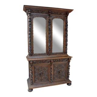 Antique French Oak 19th Century Black Forest Gothic Jacobean Hunt Cabinet Bookcase For Sale