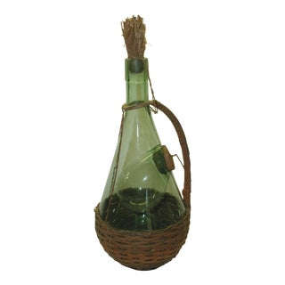 Vintage Glass and Straw Decanter & Cooler For Sale