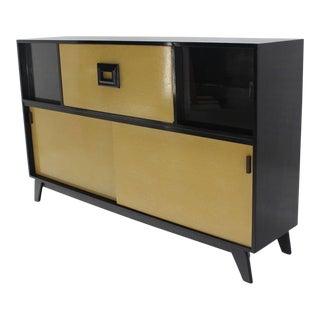 Mid-Century Modern Credenza Black Lacquer Gredenza Bar Liquor Cabinet For Sale
