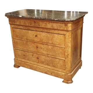 Period French Louis Philippe Commode in Burled Blonde Walnut, Circa 1840 For Sale