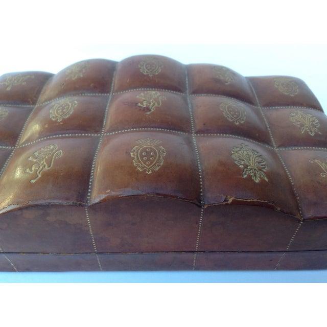 Animal Skin Italian Leather Hand-Tooled Embossed Lidded Keepsake Box For Sale - Image 7 of 11
