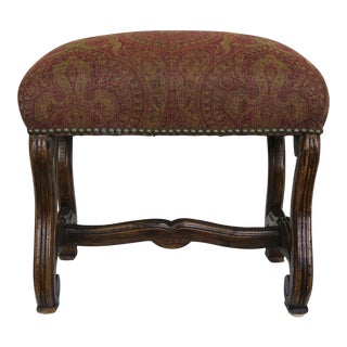 Spanish Walnut Bench W/ Paisley Upholstery C. 1940 For Sale