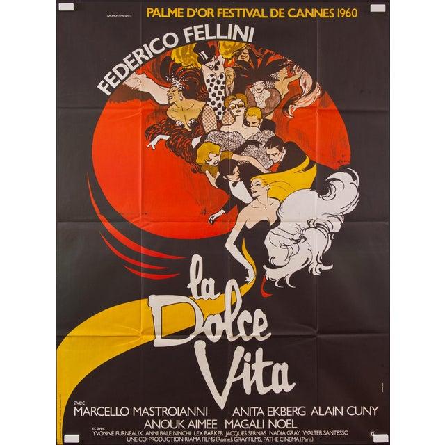 "Vintage French ""La Dolce Vita"" Federico Fellini Film Poster - Image 1 of 2"