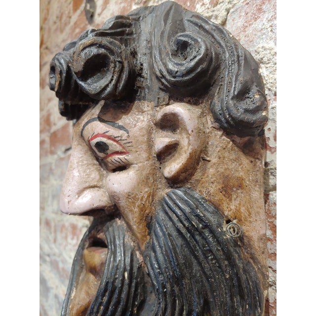 1930s Antique Painted Mexican Mask - Wood Carved For Sale - Image 5 of 9