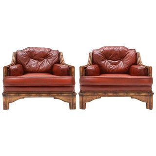 Pair of Red Leather Club Chairs