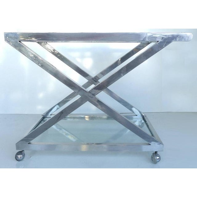 Mid-Century Modern Nickel-Plated Tea Trolley or Bar Cart For Sale - Image 4 of 9