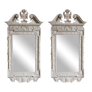 George II Grey Painted Tablet Mirrors in the Manner of Kent - a Pair For Sale