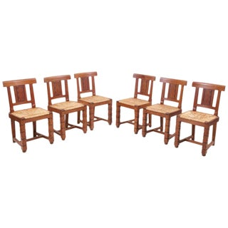 Set of Six Wooden Chairs by Jacques Mottheau, France, 1930s For Sale