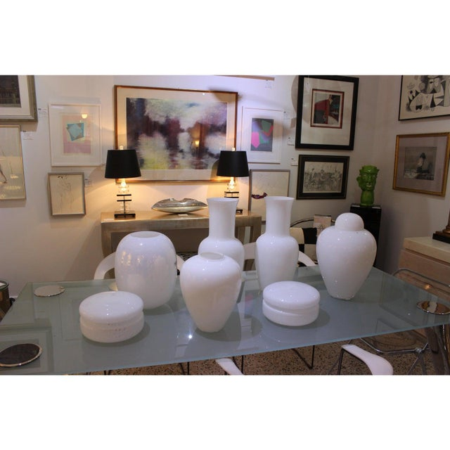 White Vintage Venini Murano White Glass Vases - a Pair - Part of a Collection For Sale - Image 8 of 10