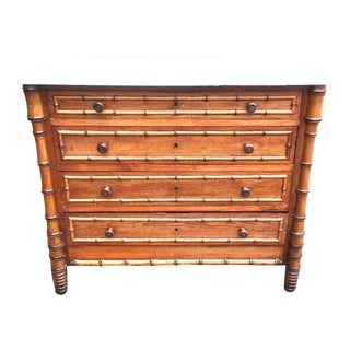 19th Century American Marble Top Faux Bamboo Chest of Drawers For Sale
