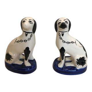 Staffordshire Porcelain Mini Dogs - a Pair For Sale