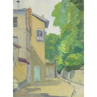 André Poirrier, French Gouache - Paris Montmartre Alleyway For Sale