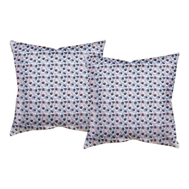 "Pepper Eden in Blue 20"" Pillows - a Pair For Sale"