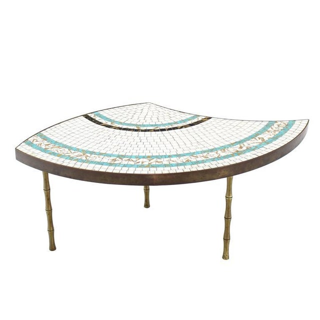 Three-Part Bronze and Mosaic Round Coffee Table For Sale In New York - Image 6 of 9