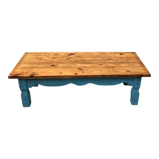 Vintage Rustic Boho Reclaimed Heart-Pine Coffee Table For Sale