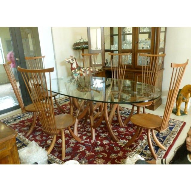Jeffrey Greene Nakashima Protege Wood & Glass Top Table Dining Set For Sale - Image 11 of 11