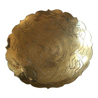 Early 20th Century Hand Etched Scalloped Brass Bowl For Sale