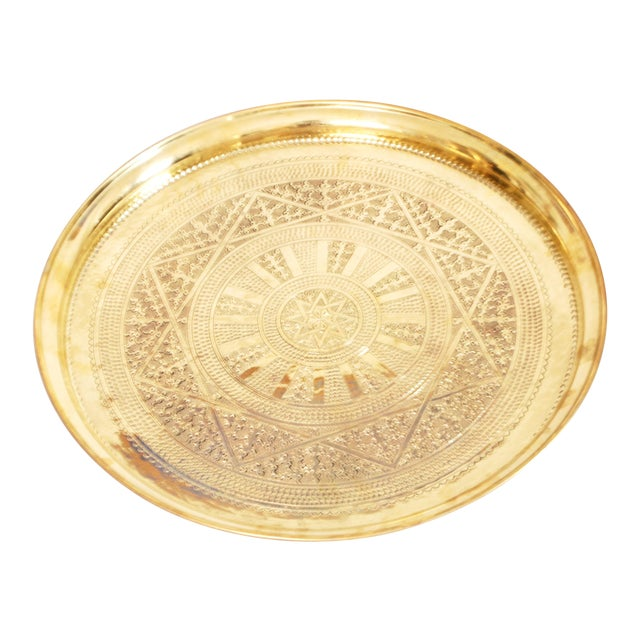 Vintage Moroccan Brass Tray - Image 1 of 3