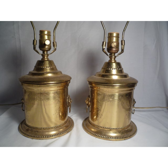 Brass Lion Head Hollywood Regency Lamps - A Pair - Image 3 of 6