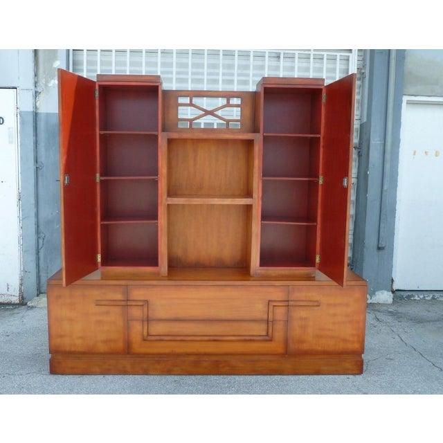 Red 50's Hollywood Regency James Mont Coromandel Red Cabinet For Sale - Image 8 of 11