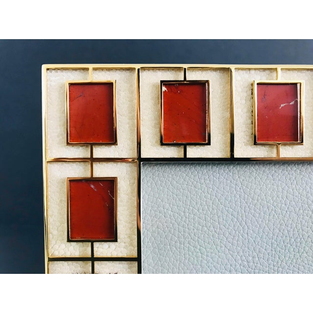 Fabio Ltd Shagreen With Red Jasper Photo Frame by Fabio Ltd For Sale - Image 4 of 7