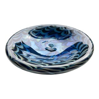 1980s Signed Iridescent Art Glass Dish For Sale