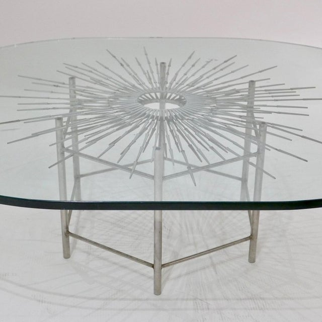 Bespoke Brutalist Welded Steel Sunburst With Thick Oval Glass Top Table For Sale - Image 10 of 11