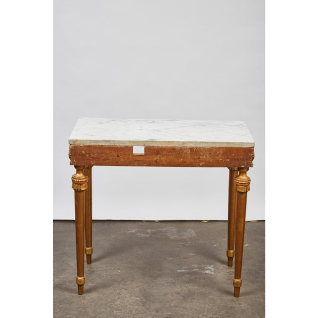 1790's Swedish White Marble and Gilded Console and Mirror For Sale - Image 9 of 10