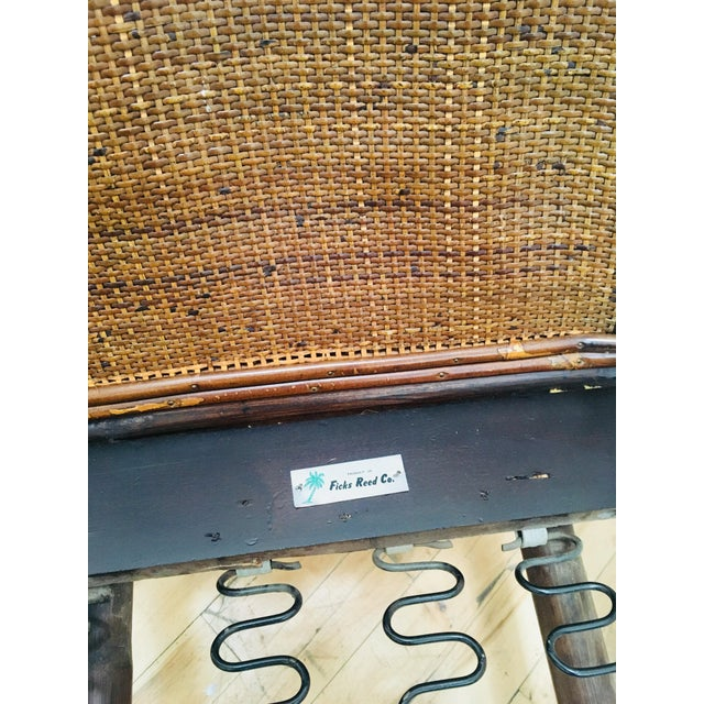 Gold Authentic Signed Ficks Reed Rattan Campaign Chair- 1954 For Sale - Image 8 of 13