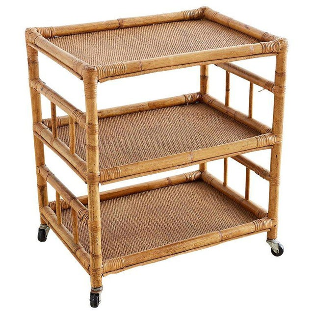 Bamboo and Raffia Rolling Three-Tier Serving Cart For Sale - Image 13 of 13