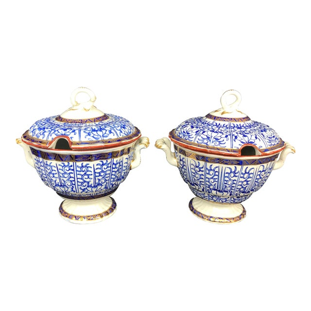 19th Century Victorian Blue & White China Lidded Serving Dishes - a Pair For Sale