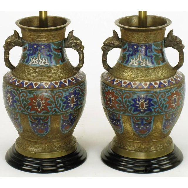 Pair of Japanese Brass Champlevé Cloisonné Urn-Form Table Lamps - Image 2 of 6