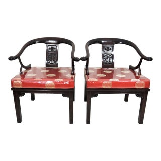 """Vintage Chinese """"Ming Style"""" Solid Rosewood Dragon Arm Chairs With Red Brocade Cushions - a Pair For Sale"""