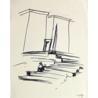 Ink Drawing - Egyptian Steps to Temple For Sale