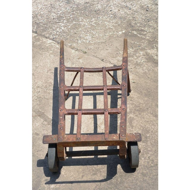 Antique Industrial Steampunk Distressed Iron & Wood Hand Truck Cart Coffee Table For Sale - Image 4 of 11