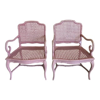 Faux Bamboo Vintage Armchairs - A Pair For Sale