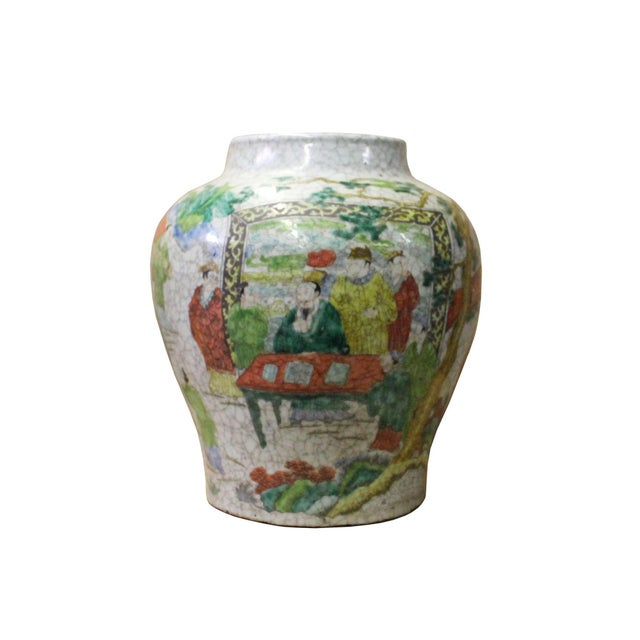 Chinese Handmade Gray White Crackle Base People Graphic Ceramic Pot Jar For Sale - Image 9 of 9