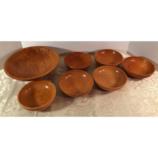 Mid-Century Modern Wooden Salad Bowls - Set of 7 - Image 3 of 11