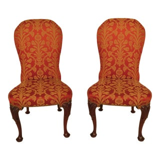 1990s Vintage Kindel #84-074 Carved Mahogany Upholstered Side Chairs- A Pair For Sale