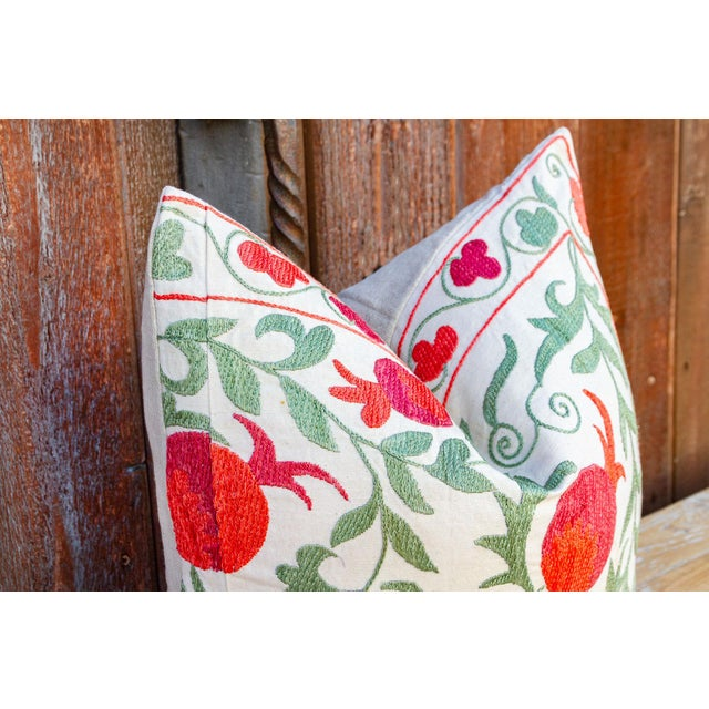 Boho Chic Remani Pomegranate & Green Ivy Uzbek Suzani Pillow For Sale - Image 3 of 9