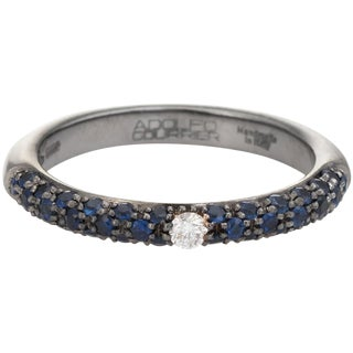 Adolfo Courrier Sapphire Diamond Stacking Ring 18 Karat Gold Estate Jewelry For Sale
