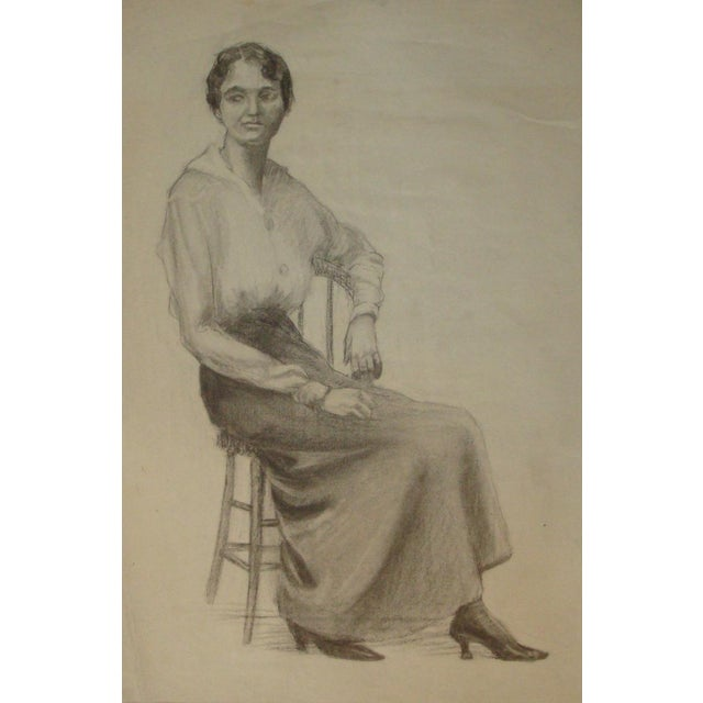 Figurative 1920s Flapper Era Charcoal Portrait Drawing of a Woman For Sale - Image 3 of 7