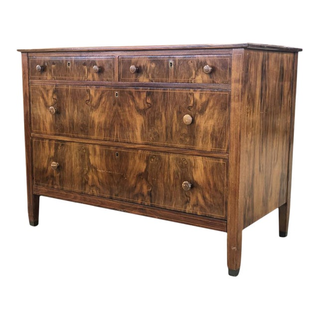 Early 1900s Mahogany Burlwood Hepplewhite Dresser Storage Credenza Cabinet With Hand Turned Wooden Knobs For Sale