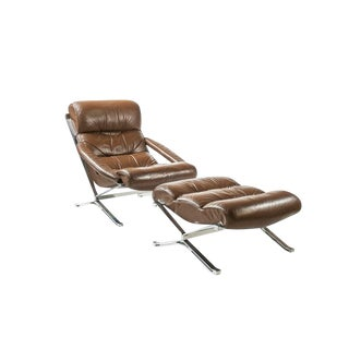 """""""SAYONARA"""" LEATHER AND STEEL ARMCHAIR AND OTTOMAN BY GIULIO MOSCATELLI FOR FORMANOVA, CIRCA 1960S"""