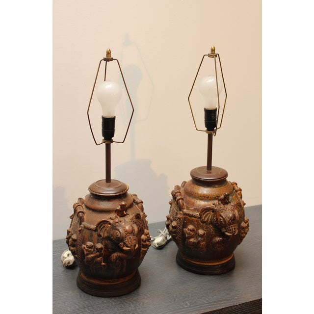 Wood East Indian Elephant Lamps- A Pair For Sale - Image 7 of 11
