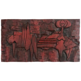 Jean Claude Gaugy Modernist Abstract Wood Carving For Sale
