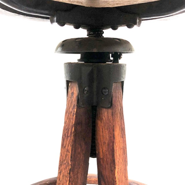 Early 20th Century Antique Architectural Industrial Oak Drafting Stool For Sale - Image 5 of 13