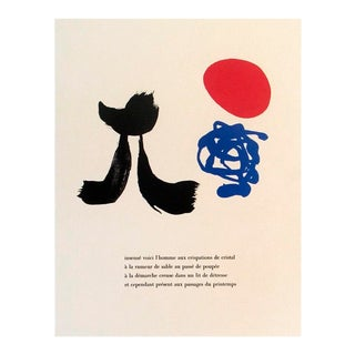 """2004 Joan Miro 'Illustrated Poems-""""Parler Seul"""" Viii' Surrealism Red,Blue,Black & White France Lithograph For Sale"""